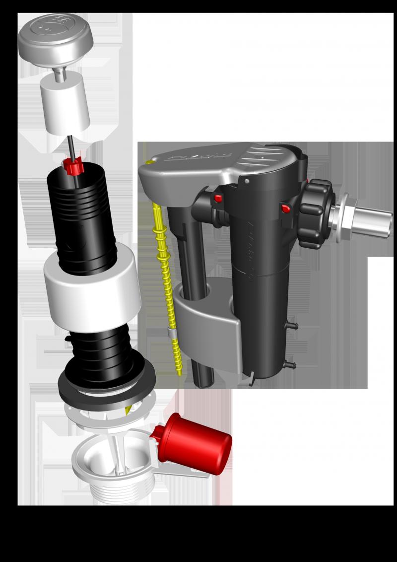 """ENSEMBLE """"MAXIPLUS"""" : Mécanisme (NF) 3/6 Litres (6200.000) + Robinet flotteur Maxilence / 6700.00"""